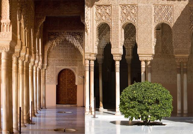 Ornamentos nos interiores da Alhambra