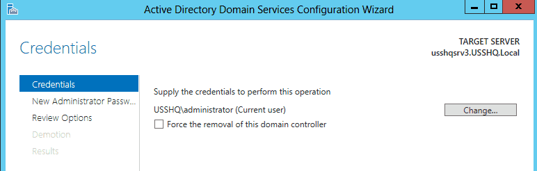 Force the removal of this domain controller