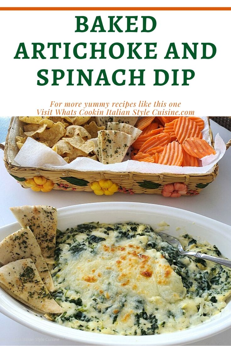 this is a pin to save a recipe for baked artichoke and spinach dip