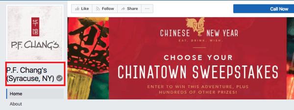 يحتوي موقع PF Chang's Syracuse، NY على شارة رمادية للدلالة على العملاء بأنه تم التعرف عليه كصفحة على Facebook تم التحقق منها لموقع الامتياز.