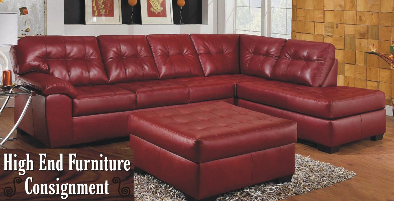 Simmons Dark Red Leather Sectional Sofa