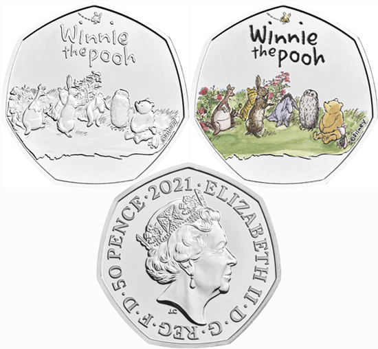 United Kingdom 50 pence 2021 - Winnie the Pooh & Friends