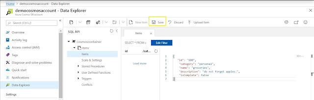 Data Explorer - Add Item