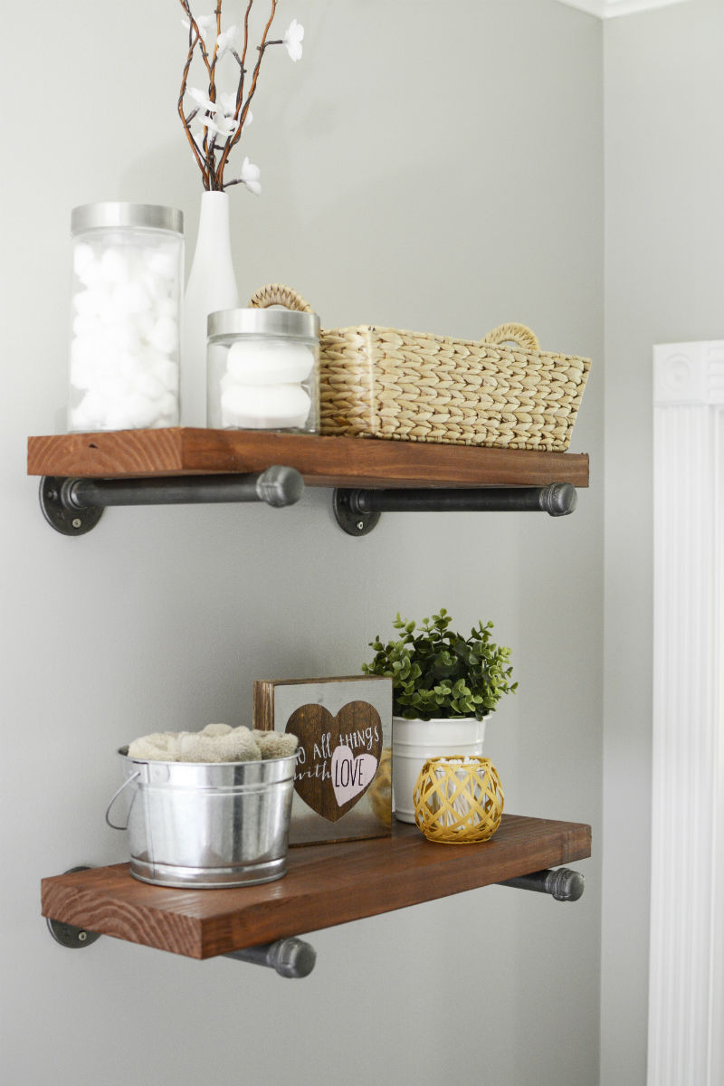 DIY Modern Farmhouse Shelving with Metal and Wood