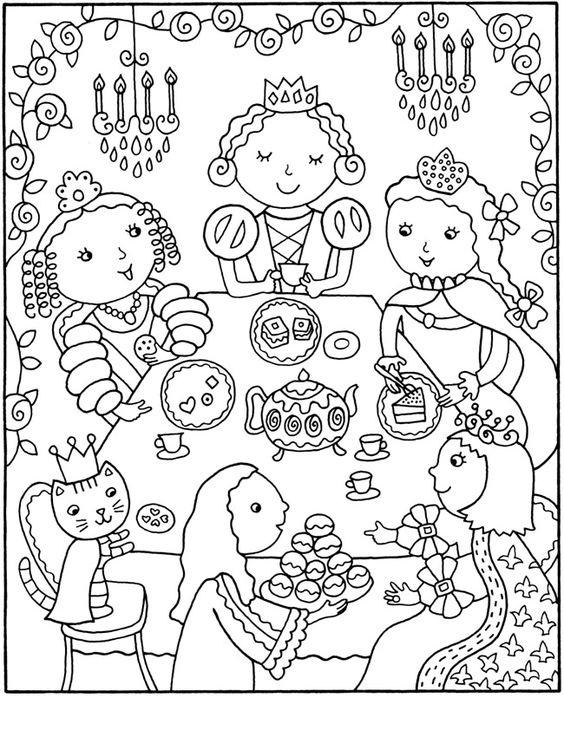 Tranh tô màu bữa tiệc của các công chúa