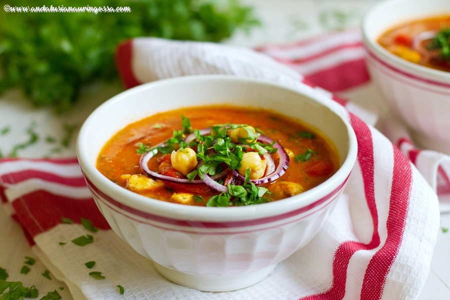 Andalusian auringossa_foodblog_mediterranean chicken soup_roasted pepper_chickpeas_glutenfree_kosher_vegan