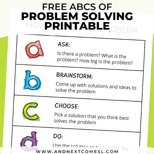 Problem solving printable for kids and teens