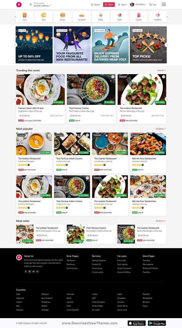 Free Online Food Ordering Website Template