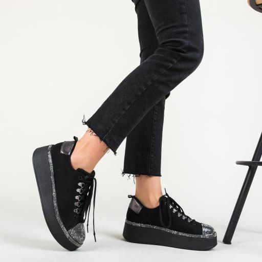Pantofi sport negri fashion cu talpa groasa si strassuri