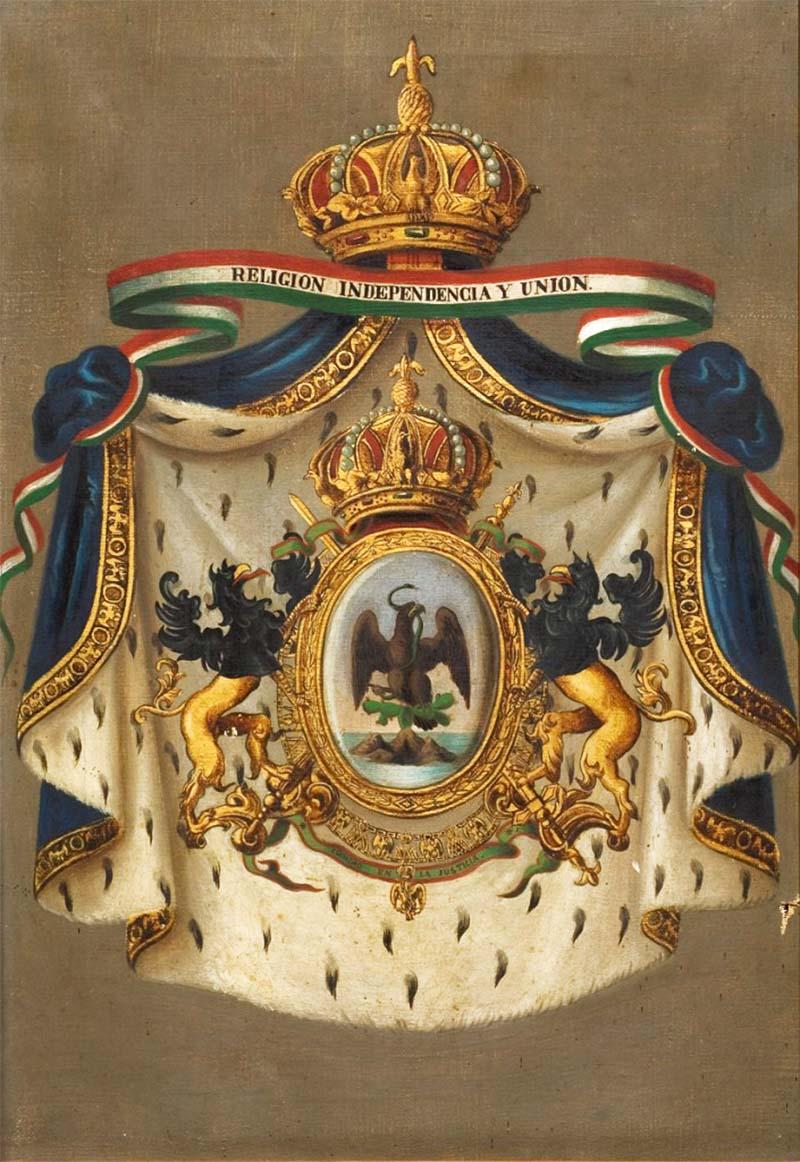 Pintura óleo sobre tela del Escudo de Maximiliano