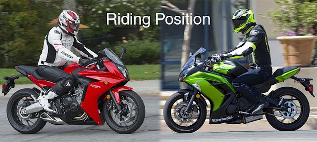 ninja 650 cbr 650f riding position