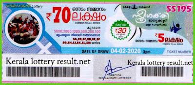 Kerala Lottery Result 04-02-2020 Sthree Sakthi SS-195 (keralalotteryresult.net)