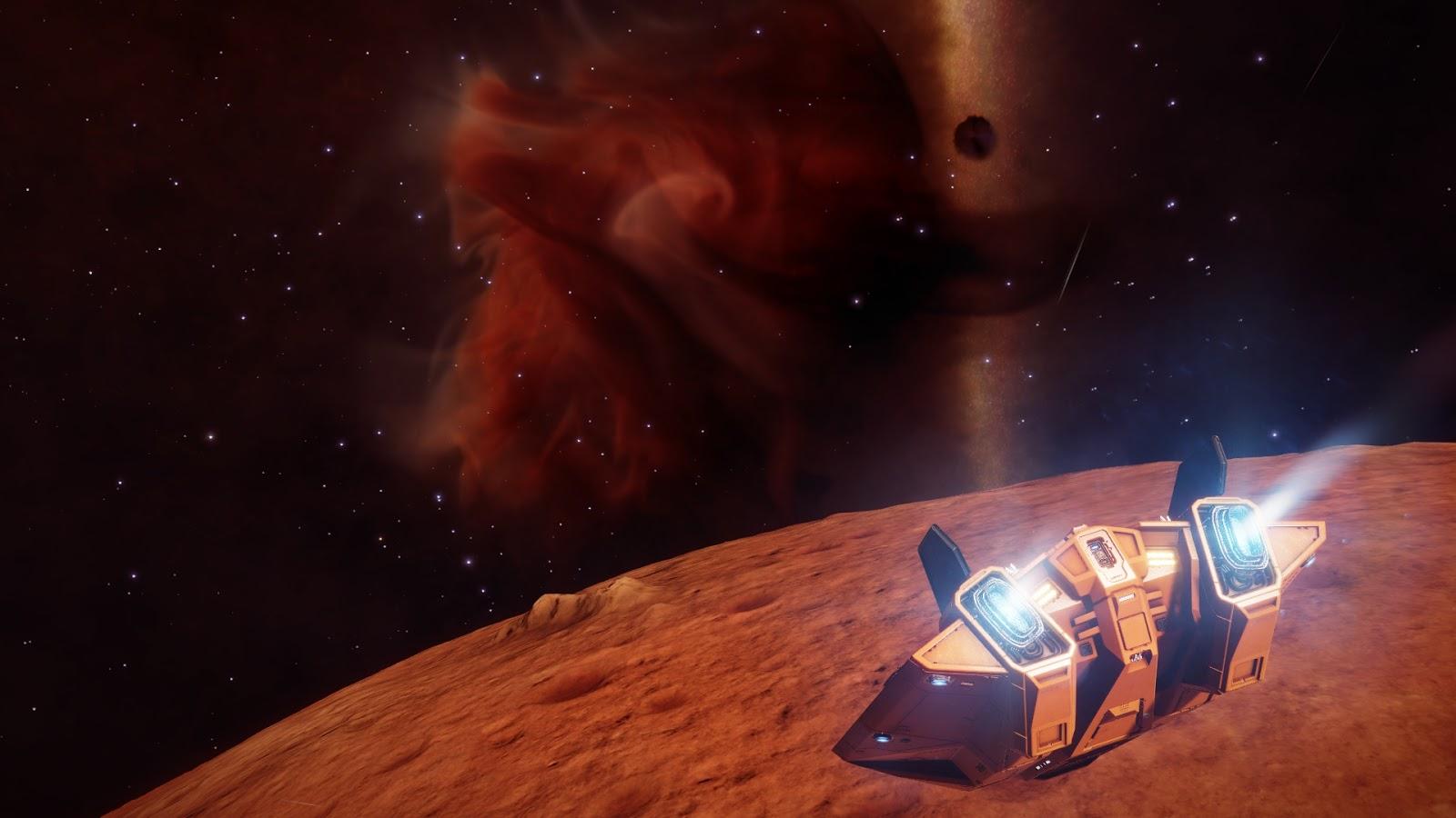 Narancssárga űrhajó ereszkedik egy Mars-szerű bolygó felszíne felé, a háttérben a Cat's Paw Nebula.