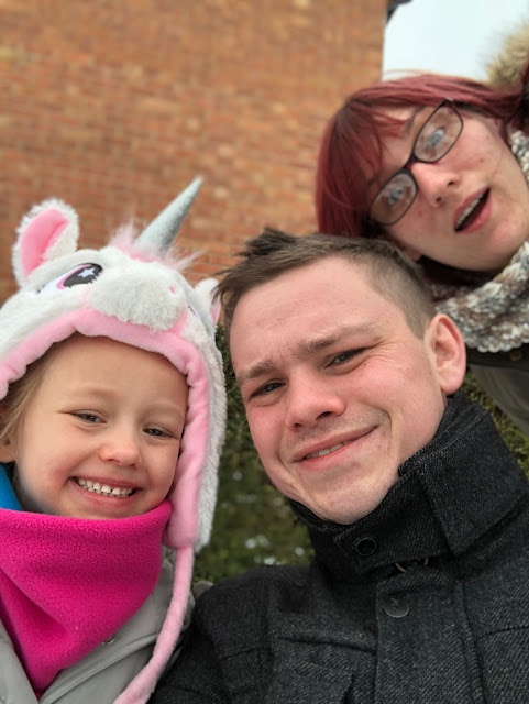 Family selfie in the snow