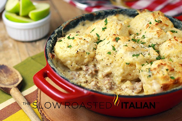http://www.theslowroasteditalian.com/2013/11/sausage-gravy-and-biscuit-skillet-recipe.html