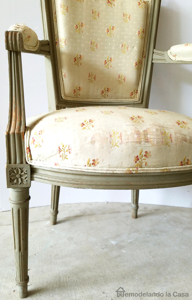 upholstered, green chipy paint chair