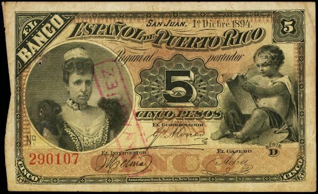 Puerto Rico currency 5 Pesos banknote 1894 Banco Espanol de Puerto Rico