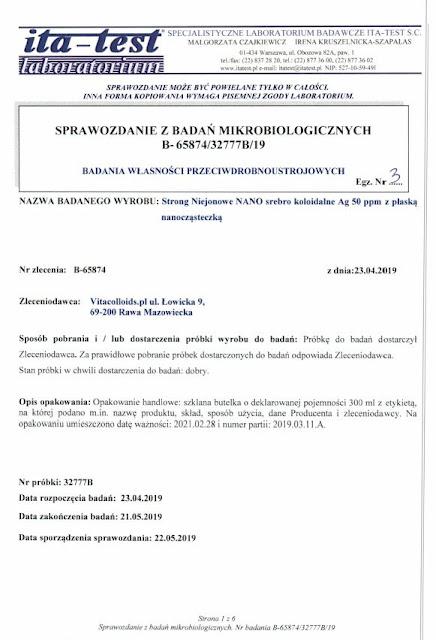 Badanie laboratoryjne Klebsiella pneumoniae Vs Strong Niejonowe srebro Vitacolloids str 1