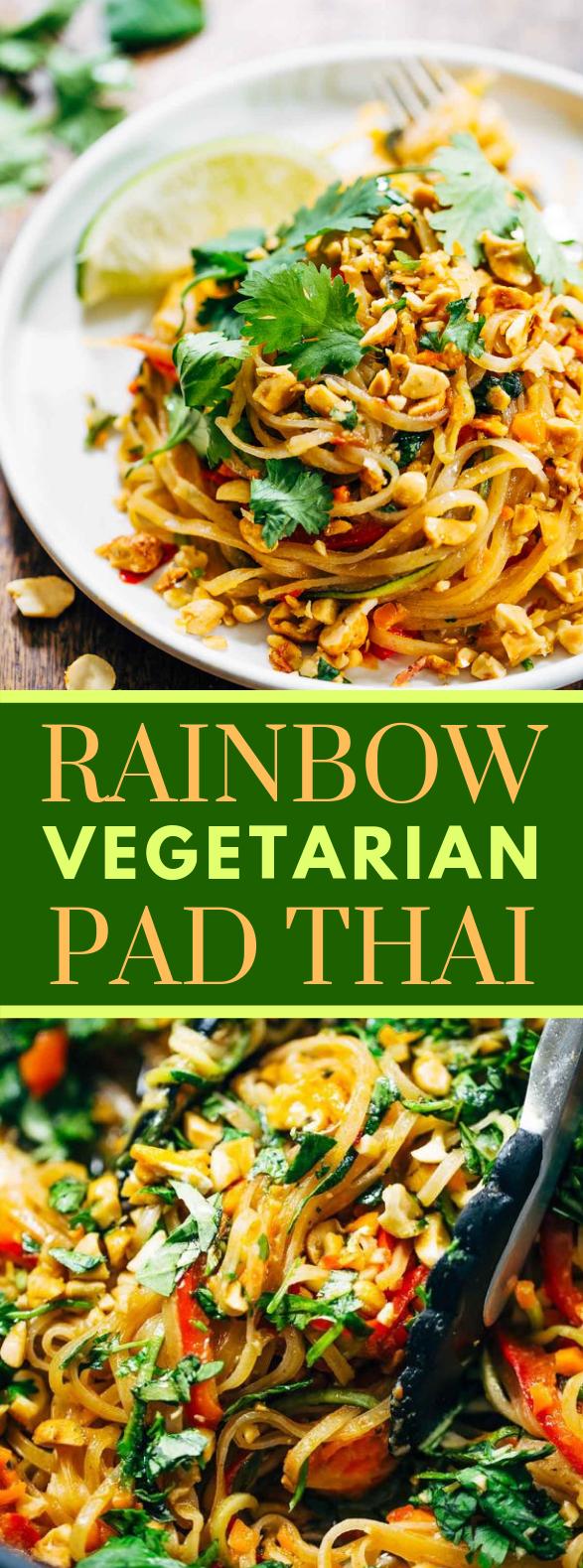 Rainbow Vegetarian Pad Thai with Peanuts and Basil #glutenfree #foodrecipes
