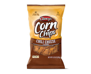 A stock image of Clancy's Chili Cheese Corn Chips, from Aldi