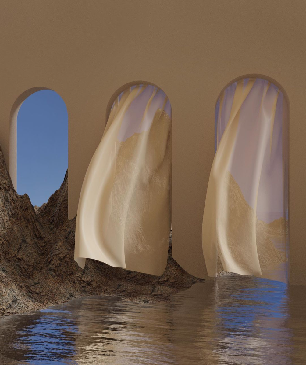 architecture inspired by ancient arches on a rocky landscape by the sea