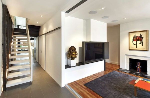 tv cabinet under staircase design india