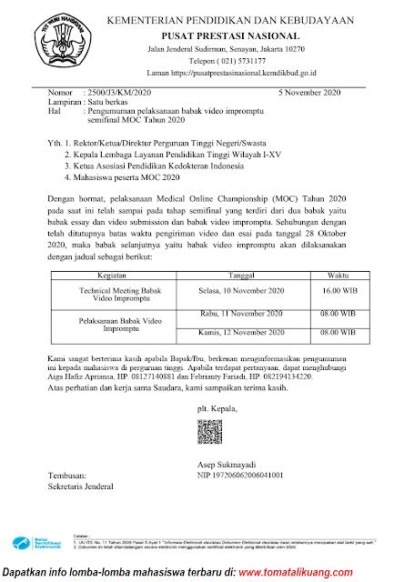 jadwal pelaksanaan babak video impromptu semifinal medical online championship moc tahun 2020 tomatalikuang.com