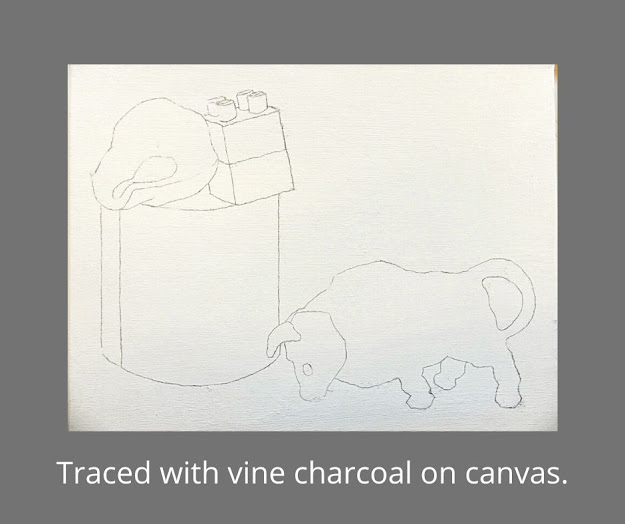 Sample of vine charcoal tracing on canvas.