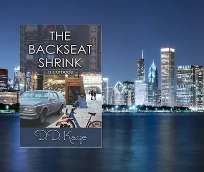 Image of The Backseat Shrink book with the Chicago skyline in the background