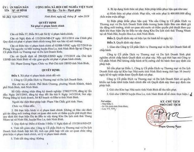 Liên tiếp xâm hại di sản Tràng An, vẫn được Chủ tịch tỉnh Ninh Bình tặng bằng khen