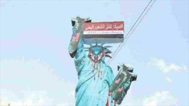 Yemen critica su mascare por EEUU con copias de Estatua de Libertad