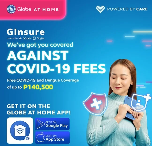 FREE GInsure with Globe Plans and Promos; FREE COVID-19 and Dengue Coverage of up to Php140,500