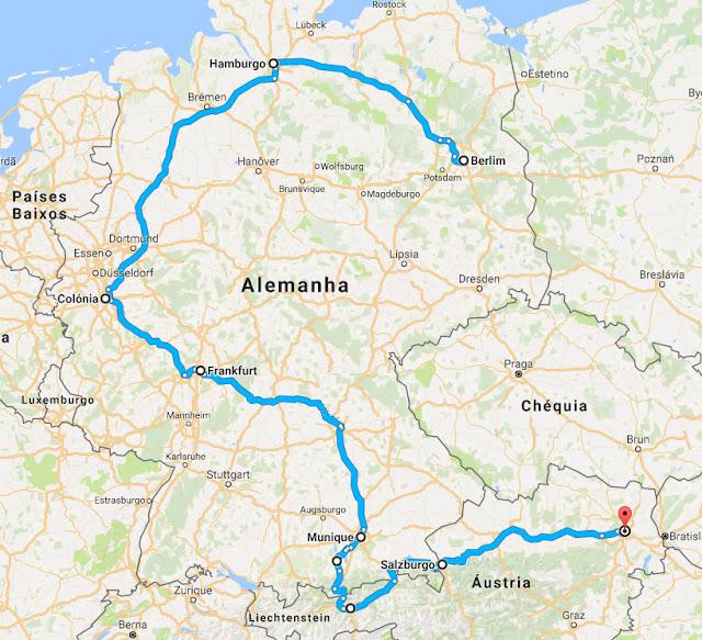 Eurotrip - Roteiro pela Alemanha e Áustria - Berlim, Munique, Bavária, Viajar,Viagem, Mochilão, Colonia, Viena, Salzburgo, Mapa