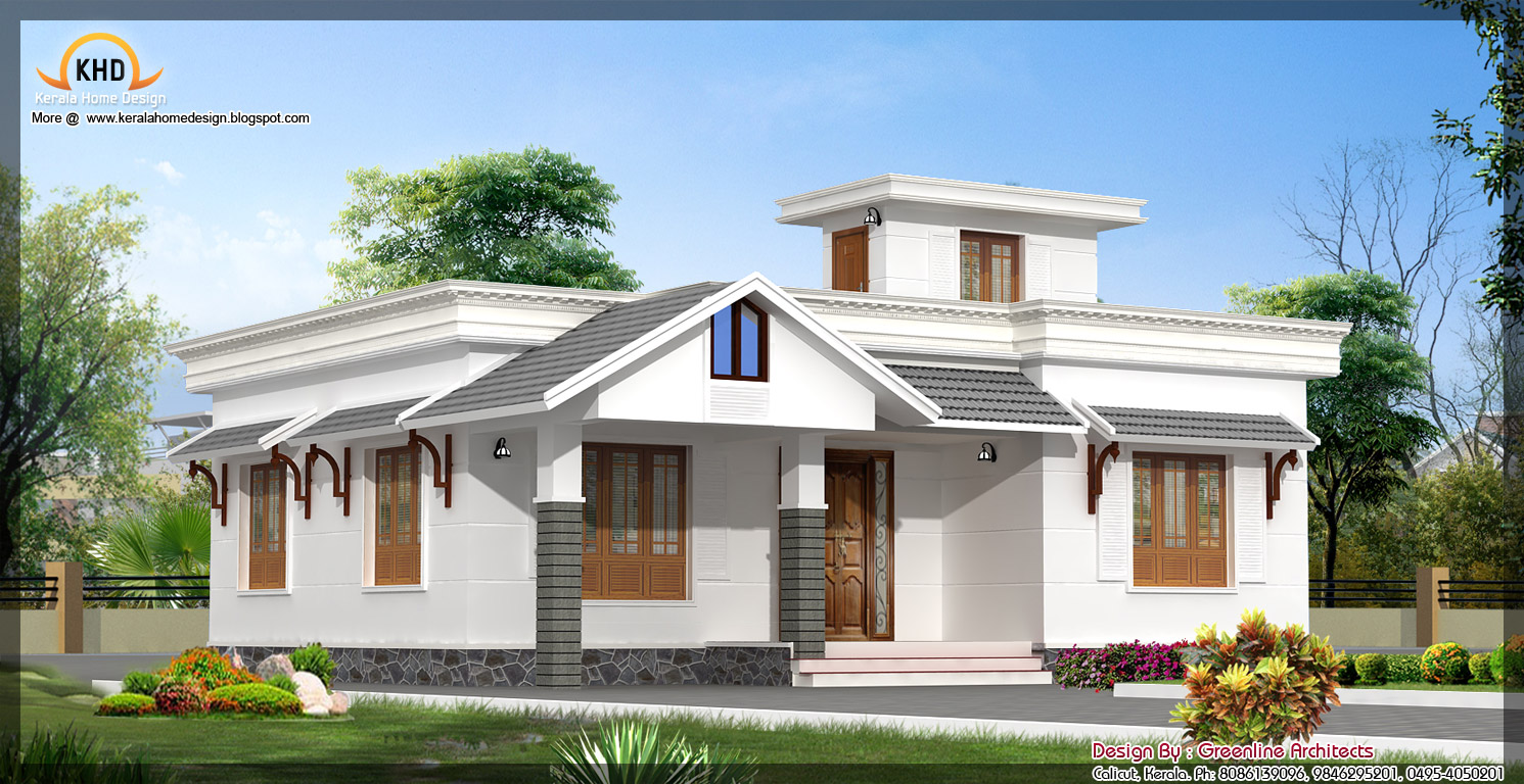 Beautiful single floor house elevation 1377 sq ft for Single home design