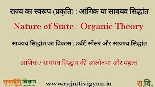 राज्य का स्वरूप/प्रकृति, आंगिक या सावयव सिद्धांत