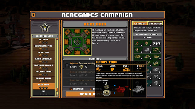 Screenshot of the Renegades Campaign screen with a Heavy Tank shown