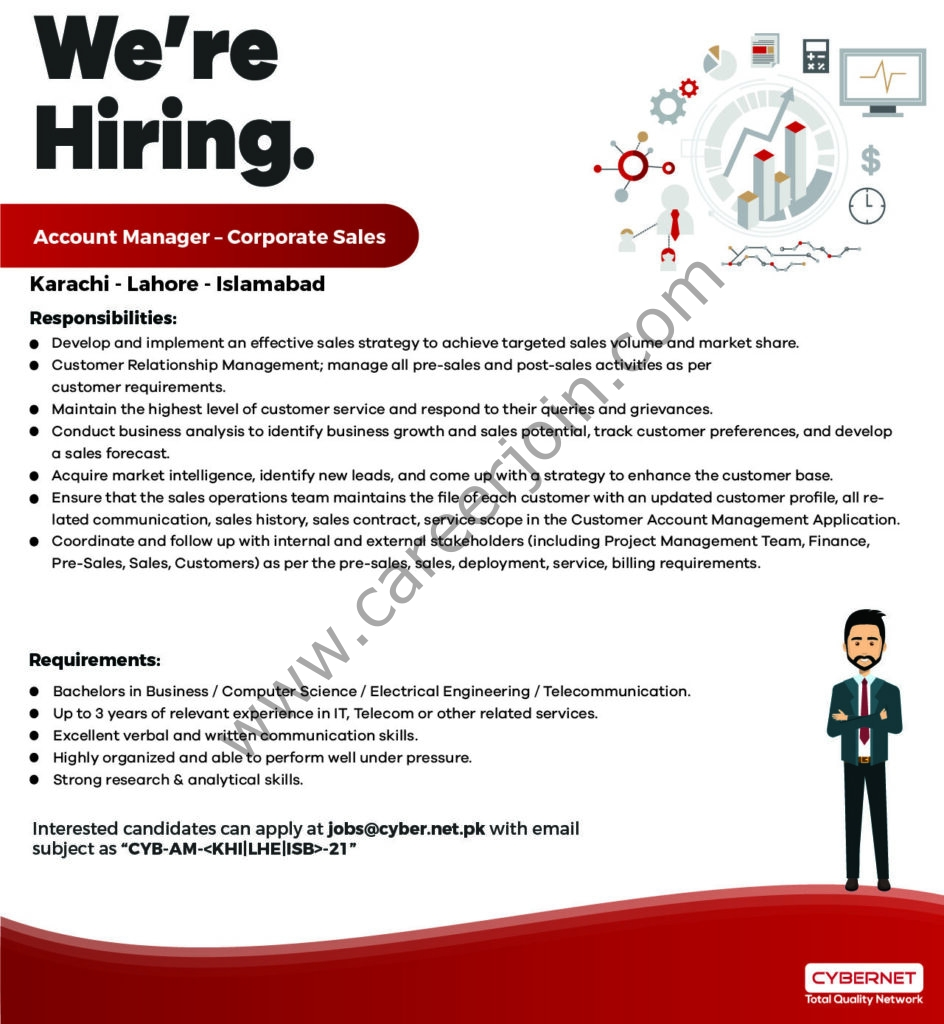 CyberNet Jobs 2021 Account Manager in Multiple Cities - CyberNet Careers - jobs@cyber.net.pk