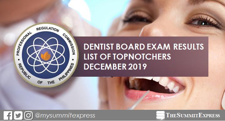 RESULT: December 2019 Dentist board exam top 10 passers
