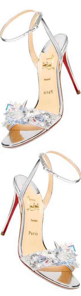 Christian Louboutin Metallic Crystal Sandals