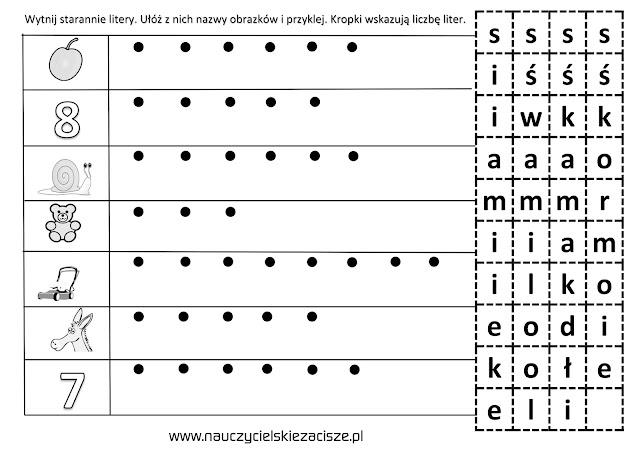 karty pracy klasa pierwsza litery ś jak ślimak si jak siedem