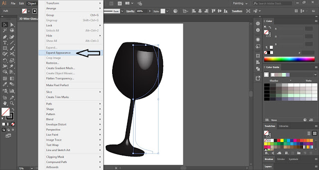 3D Wine Glass in Adobe Illustrator