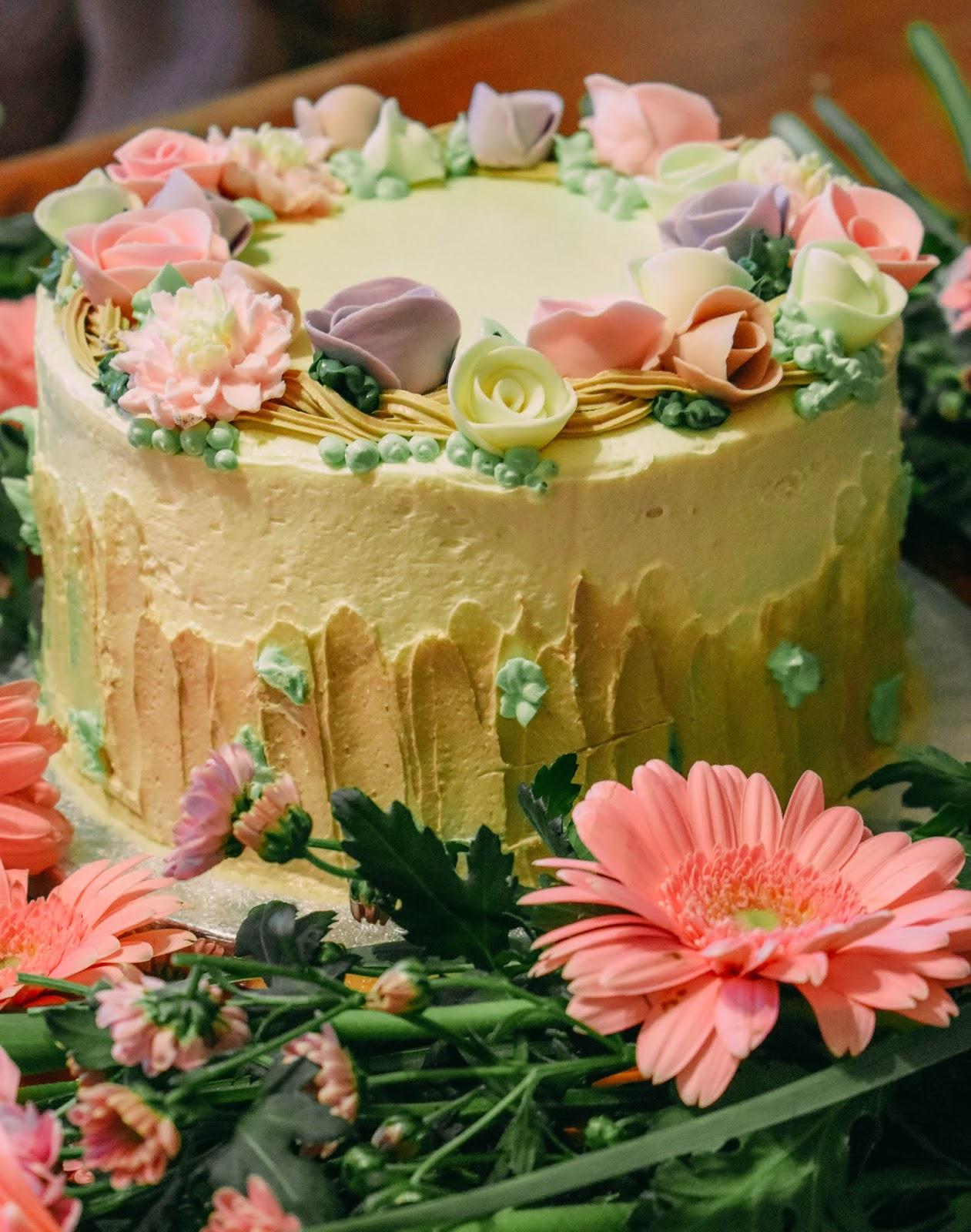 Enjoyable Pretty Pastel Flower Birthday Cake Dolly Dowsie Personalised Birthday Cards Cominlily Jamesorg