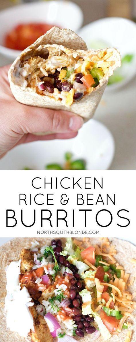 CHICKEN RICE AND BLACK BEAN BURRITOS #Chicken #Rice #Black #Bean #Burritos #Healthydinner #Dinner #Dinnerrecipe