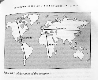 Page 177. Figure 10.1. Major axes of the continents. Jared Diamond. Guns, Germs, and Steel. All tables and figures.