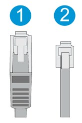 Example of an Ethernet cable & a phone cable.