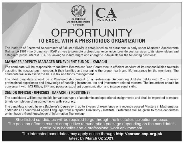 Institute of Chartered Accountants of Pakistan ICAP Jobs 2021 in Karachi