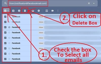Delete all the searched email from filter