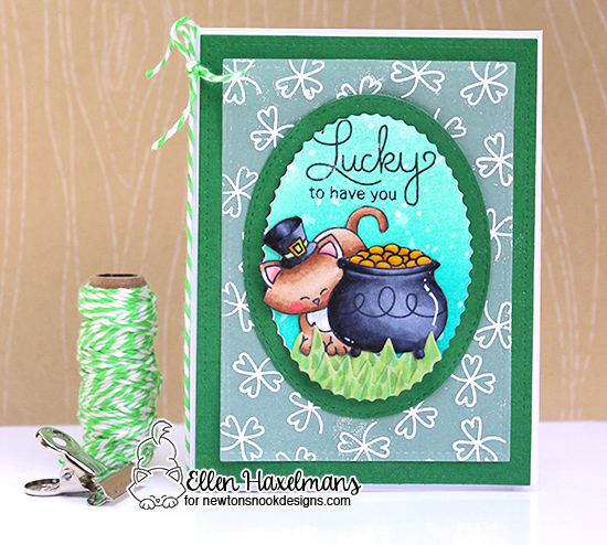 St Patricks Day card with Cat by Ellen Haxelmans | Newton's Pot of Gold stamp set by Newton's Nook Designs #newtonsnook
