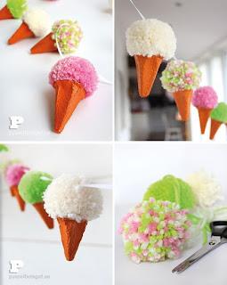 gelato con pompon colorati