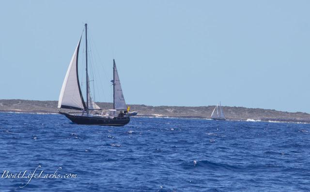 Sailboats sailing to George Town, Bahamas